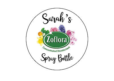 personalised Zoflora Spray Bottle Sticker 88mm Mrs Hinch Your Name