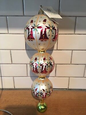 Christopher Radko Circle Of Santas Trio 01-1062-0 Triple Ball 11 Inches W Tag