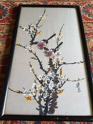 antique oriental ink on silk painting birds.blossom.ebonised frame