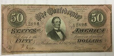 1864 $50 DOLLAR CONFEDERATE STATES CURRENCY CIVIL WAR NOTE Criswell COA T-66