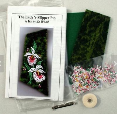 THE LADY'S-SLIPPER PIN - KIT BY JO WOOD - BEAD APPLIQUE KIT - New
