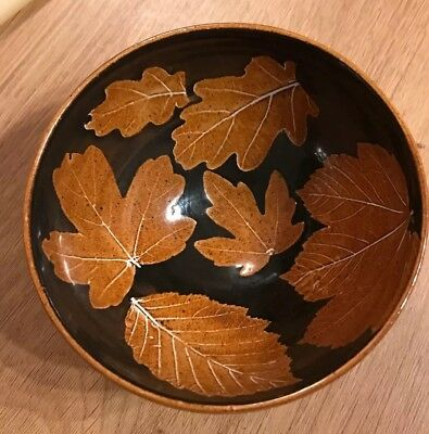 Chris Body Studio From Rother Valley Country Park Brown Pottery Bowl Leaves