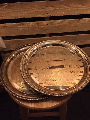 "2 Antique WM Rogers 12"" Plates Etched Silver Plated"