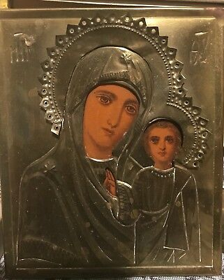Antique 19c Russian Orthodox Hand painted icon Mother of God in brass oklad.