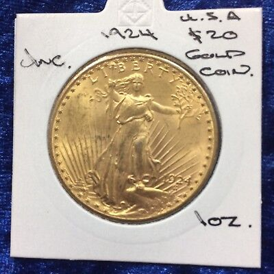 1924 $20 St. Gaudens Double Eagle Gold Coin UNC