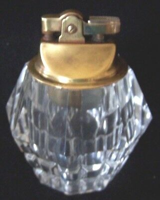 Glass Cigarette Lighter Crystal Faceted Table Top
