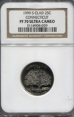 1999 S Ngc Pf 70 Ultra Cameo Connecticut Clad   Quarter