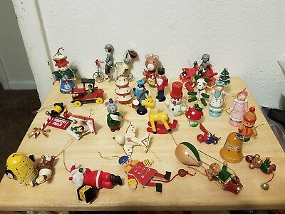LOT of 26 Vintage CHRISTMAS Wooden Ornaments