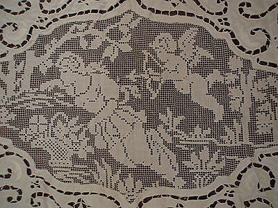 """Antique Italian Point Venise Filet Figural Angel Cupid Hand Made Tablecloth 86"""""""