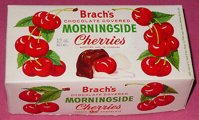 Vintage Brach's Chocolate Covered Morningside Cherries Stamped 12 oz. Box Only