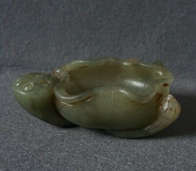 Chinese Exquisite Hand carved lotus Carving Hetian jade Brush Washer