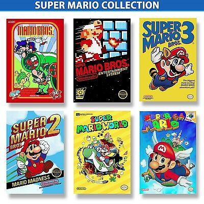 SUPER MARIO BROS Poster Mini Collection (Six) 5x7inch 4K Remastered & Laminated