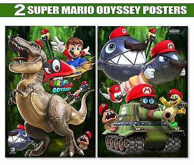 SUPER MARIO BROS ODYSSEY Posters W/ FoamBoard Backing  | Two 13x19inch