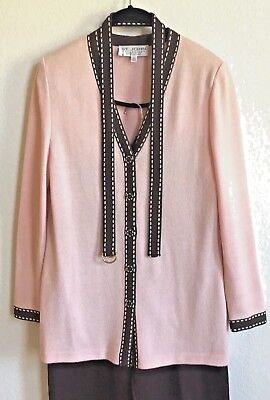 St John Collection by Marie Gray Pant Suit Pink Brown Top Size 8 Pant Size 10