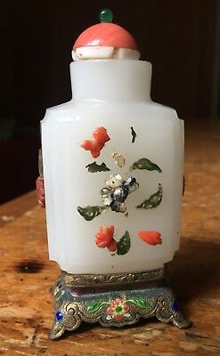 Vintage Chinese Peking glass applied flowe Snuff Bottle W/ enamel metal stand