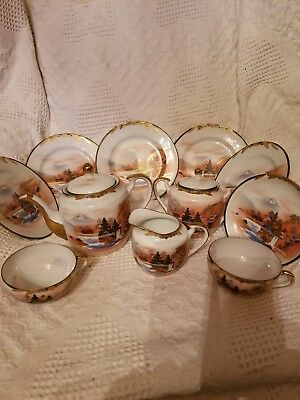 Vintage Soko Japan Hand Painted  Porcelain China 11 Piece set