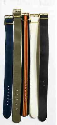 Lot Of 5 Nos Vintage Nylon - Military - Trench - Men's Wrist Watch Bands (C13)