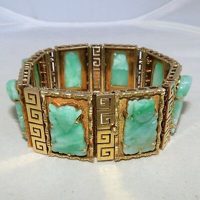 "BIG 7"" Vintage Chinese 14K Yellow Gold Bracelet w/ 8 Green Jadeite Jade  (97g)"