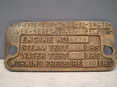 Southern Pacific locomotive boiler plate from engine 4376, the last MT5