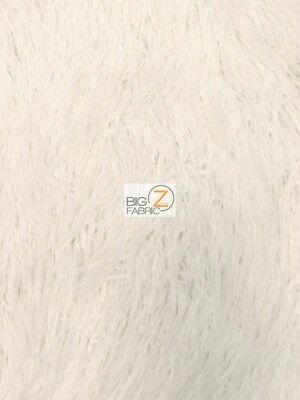 YETI MONGOLIAN FAUX FAKE FUR FABRIC - White - BY THE YARD COAT COSTUME CURLY