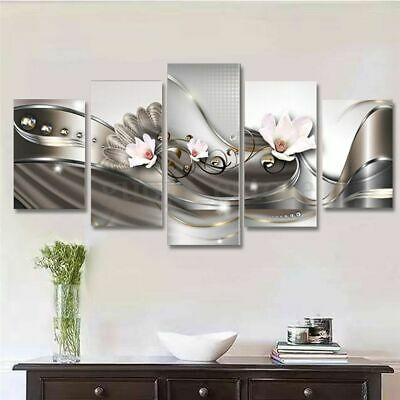 Framed Home Decor Abstract Orchid Flowers Canvas Prints Painting Wall Art 5PCS