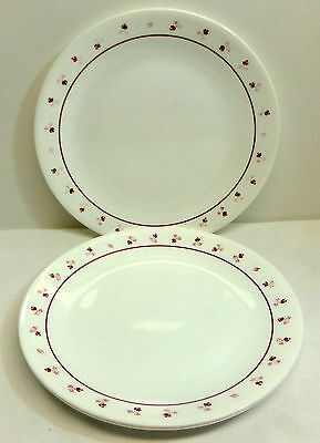 Vintage Corelle Burgundy Rose Set of 4 Dinner Plates Red and Pink Flowers
