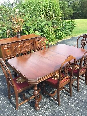 Beautiful Antique Walnut 6 Leg Dining Table Chairs And Sidebar