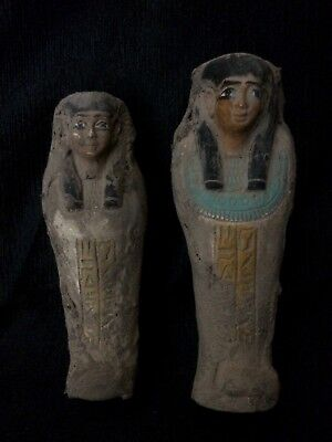 EGYPTIAN ANTIQUE EGYPT MUMMY Shabti Ushabti PHARAOH 2-STATUE Carved STONE BCE