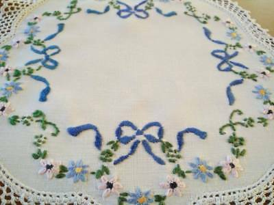 Sweet Blue Bows and Flowers  ~ Vintage Hand Embroidered Doily