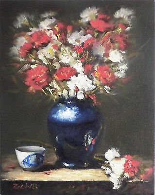 "Original Oil Painting Still Life Realism Blue White Vase Flowers 11x14"" by Z.Li"