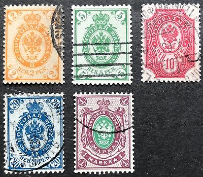 1901 Finland Russian Type 2p-1m Set of 5/6 (Missing 10m) SG161-170 USED