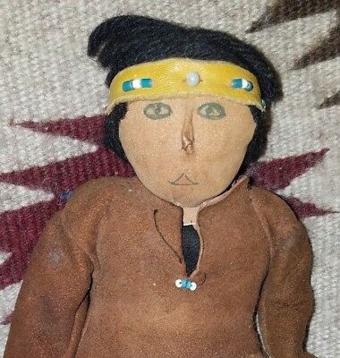 Vintage Native American Indian Doll Sculpted Nose Beads Leather