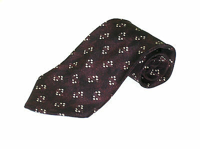 Mens Silk Neck Tie Hugo Boss  Burgundy  Geometric Made In Italy Necktie