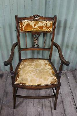 A Stunning Antique Sheration Revival Carver with Inlay - Arm Chair