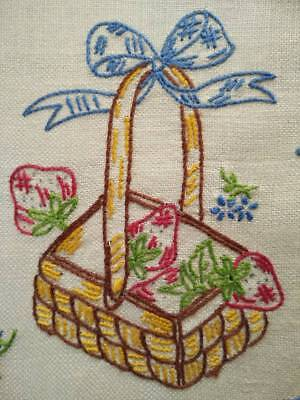Charming Sweet Strawberry Basket ~ Vintage Hand embroidered Large Doily