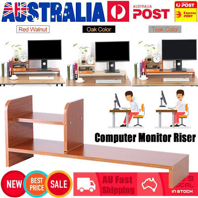 Wooden Desktop Mount Monitor Stand TV LCD Laptop Computer Screen Riser Display