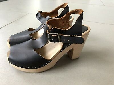 Funkis Clogs - Black, Size 38. Worm Once-as New
