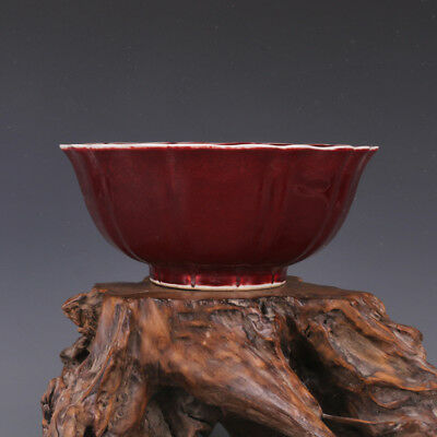 Large Chinese Ming Ox-blood Red Glaze Porcelain Bowl with Mark