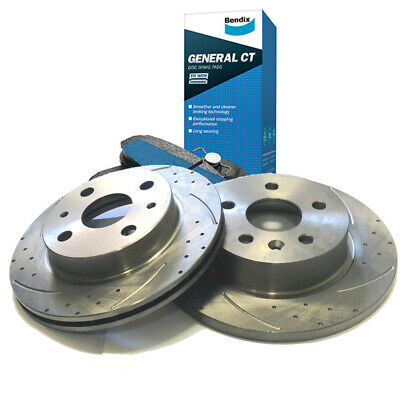 SLOTTED DIMPLED Rear 279mm BRAKE ROTORS & BENDIX PADS COMMODORE VL VN VP VR VS