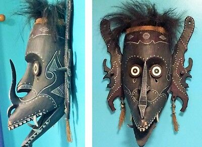 African wall mask wood carving timber shell open mouth X LARGE 80cm x 60cm