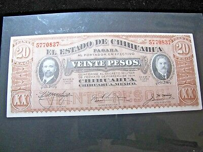 1914 El Estato De Chihuahua Mexico 20 Pesos Banknote With Military Decree Unc