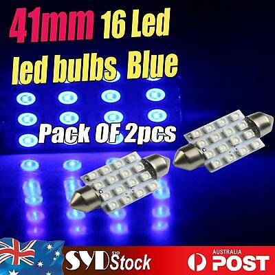 Blue 2 x FESTOON 41MM 1210 16SMD Car Door Interior Roof Led Lights Bulbs Replace