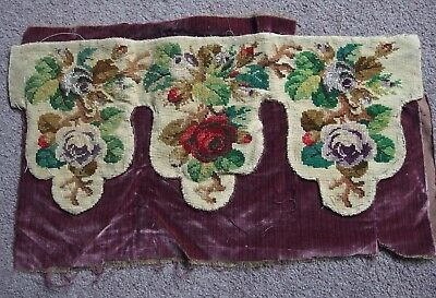 antique Victorian hand worked beaded tapestry textile