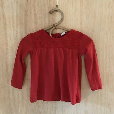 Cherry Red Top With Lace Collar By ZARA Girl   Size 4/5