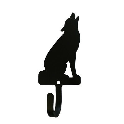 Sitting Howling Wolf Wall Mount Coat Hook Cabin Decor Village Wrought Iron