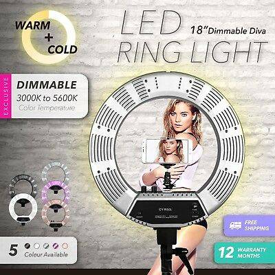 "19"" 5600K Dimmable Diva LED Ring Light Diffuser Stand Make Up Studio Mirror Mel"