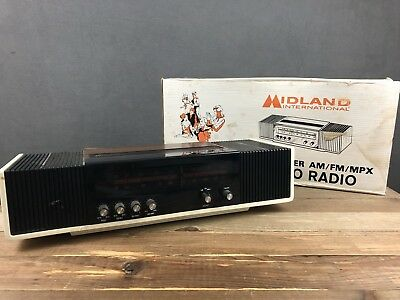 Midland 2 Speaker AM/FM/MPX Stereo Radio 11-399 TESTED & WORKING + Box & Manual