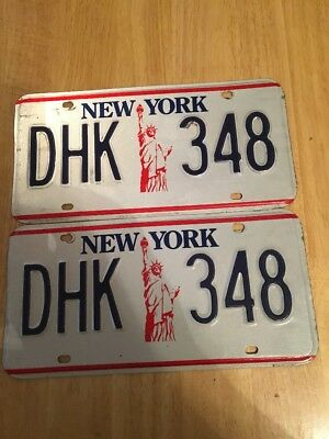 Vintage New York Statue Of Liberty License Plates(PAIR)DHK 348