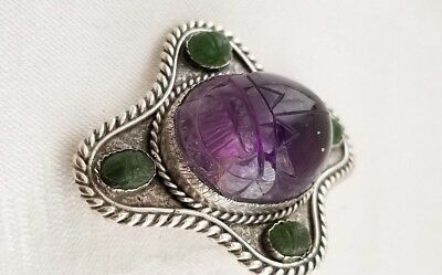 Jade and Amethyst Brooch Solid Sterling  1920's  Egyptian Revival Carved Scarab