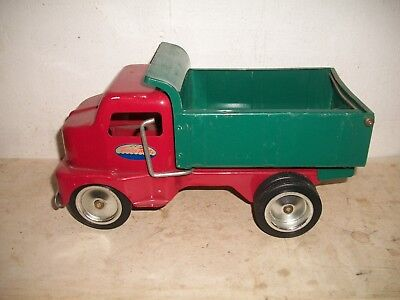 "Metal Tonka Toys Dump Truck RED & GREEN 11"" long Toy"